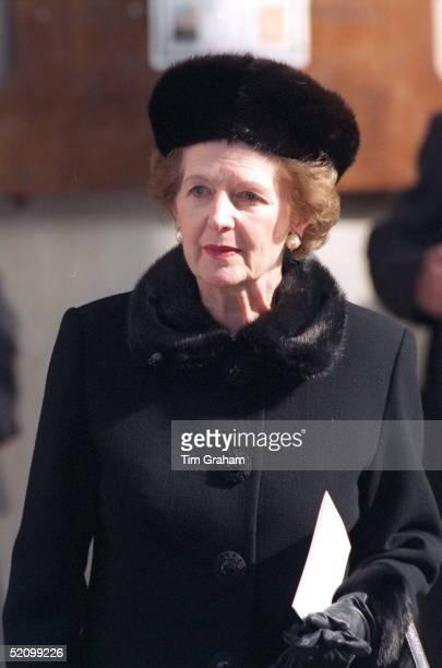 Lady Thatcher Former Prime Minister Margaret Thatcher Leaving Memorial Service For Photographer Terence Donovan