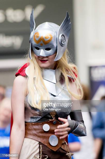 Lady Thor cosplayer in character seen during London Film and Comic Con 2019 at Olympia London on July 27 2019 in London England