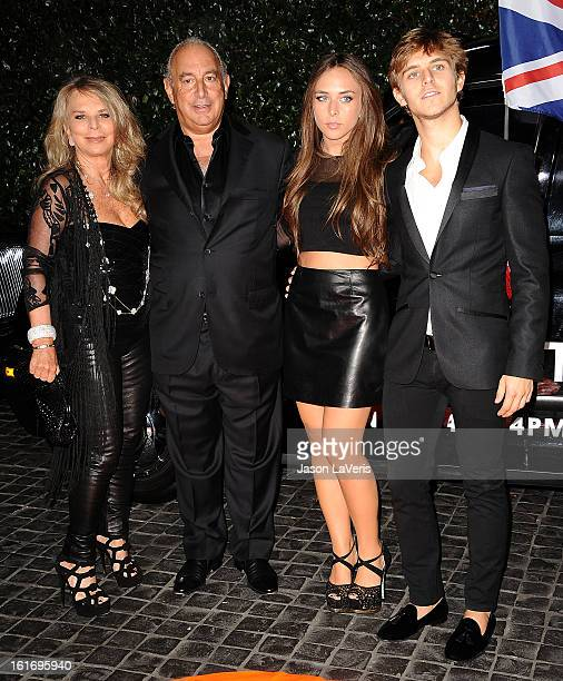 Lady Tina Green proprietor Sir Philip Green Chloe Green and Brandon Green attend the Topshop Topman LA flagship store opening party at Cecconi's...