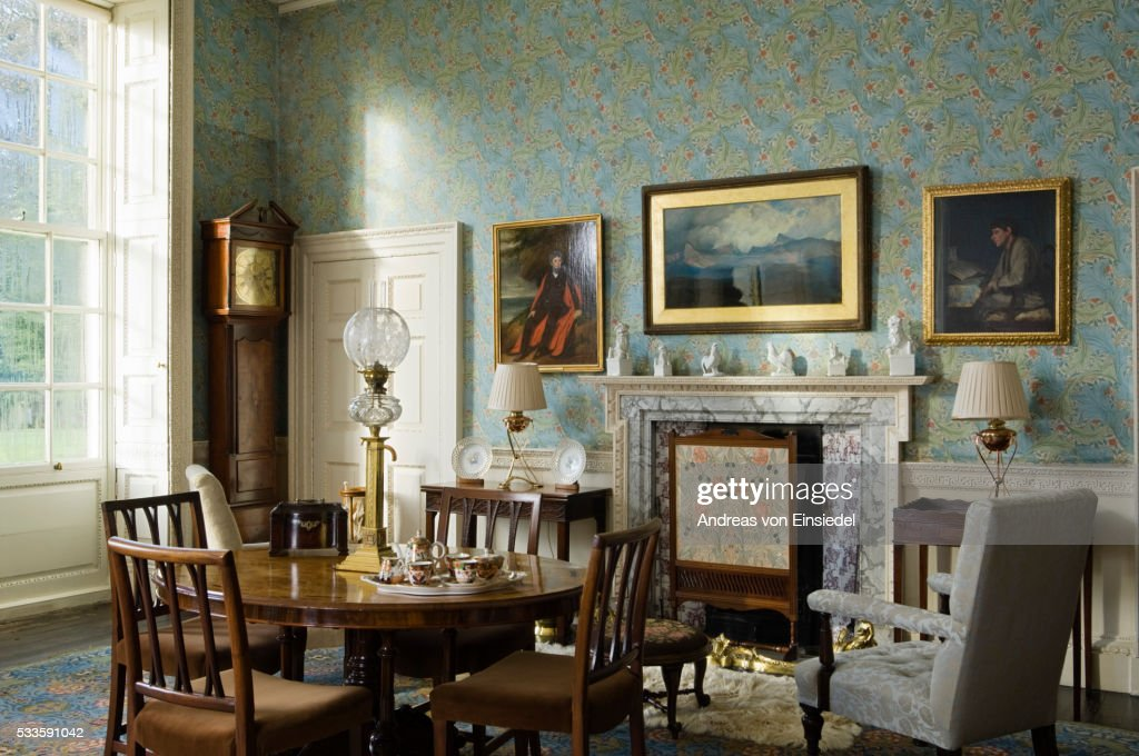Lady Trevelyan's Parlour at Wallington, Northumberland : Stock Photo