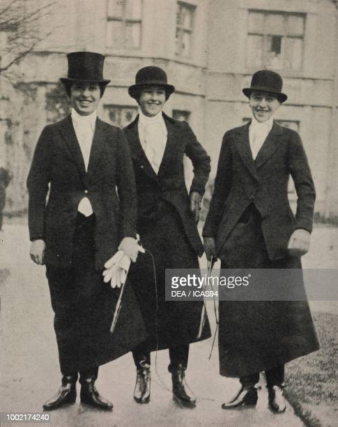 Lady Victoria CavendishBentinck Wemyss Comtesse Resy de BailletLatour and Comtesse Sophie Clary at Kirklington Hall United Kingdom photograph by...