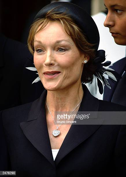 Lady Victoria Getty leaves the memorial mass held for Sir John Paul Getty II September 9 2003 in London England The Americanborn philanthropist and...