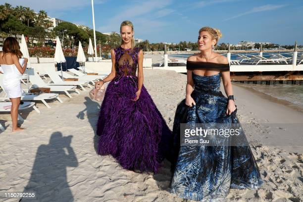 Lady Victoria Harvey and Hofit Golan are seen on the beach during the 72nd annual Cannes Film Festival at on May 21 2019 in Cannes France
