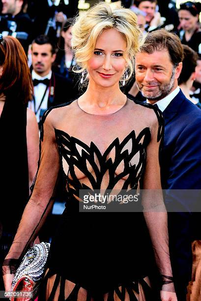 Lady Victoria Hervey and a guest attend the 'Julieta' premiere during the 69th annual Cannes Film Festival at the Palais des Festivals on May 17 2016...