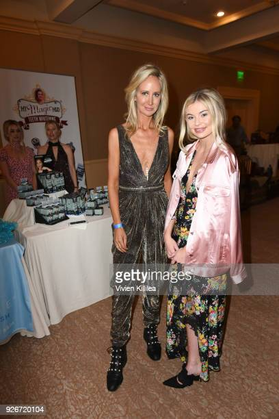 Lady Victoria Hervey and Georgia Toffolo attend the EcoLuxe PreOscars Lounge at The Beverly Hilton Hotel on March 2 2018 in Beverly Hills California