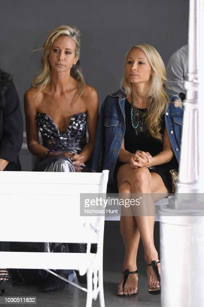 Lady Victoria Hervey and Indira Cesarine attend the Chocheng front row during New York Fashion Week The Shows at Gallery II at Spring Studios on...