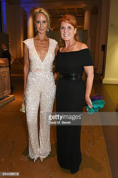 Lady Victoria Hervey and Sarah Ferguson Duchess of York attend the 2016 FIA Formula E Visa London ePrix gala dinner at The British Museum on July 3...