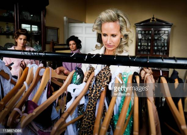 Lady Victoria Hervey arranges her new collection of swim wear Ladyship Swim at York Mansion House during York Fashion Week on March 26 2019 in York...