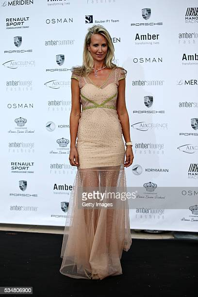 Lady Victoria Hervey arrives at the Amber Lounge fashion show during previews to the Monaco Formula One Grand Prix at Circuit de Monaco on May 27...