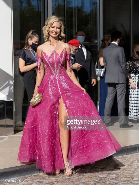 Lady Victoria Hervey is seen at the Martinez Hotel during the 74th annual Cannes Film Festival on July 14, 2021 in Cannes, France.