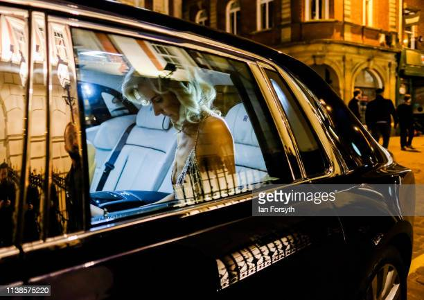 Lady Victoria Hervey sits in a Rolls Royce car ahead of her fashion show at York Mansion House during York Fashion Week on March 26 2019 in York...