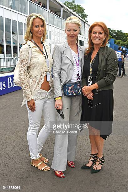 Lady Victoria Hervey Tamara Beckwith and Sarah Ferguson Duchess of York attend day 2 of the 2016 FIA Formula E Visa London ePrix in Battersea Park on...