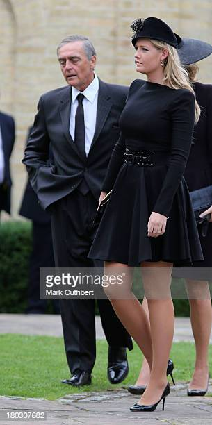 Lady Viola Grosvenor and Gerald Grosvenor Duke of Westminster attend a requiem mass for Hugh van Cutsem who passed away on September 2nd 2013 at...