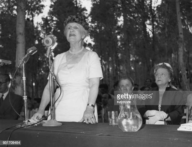 Lady Violet Bonham Carter formerly Violet Asquith speaks at the inauguration of a memorial to Zionist author Blanche Dugdale niece of Arthur Balfour...