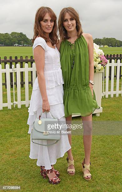 Lady Violet Manners and Lady Alice Manners attend The Cartier Queen's Cup final at Guards Polo Club on June 14 2015 in Egham England
