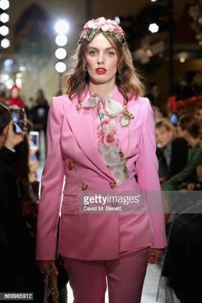 Lady Violet Manners walks the Dolce Gabbana Italian Christmas catwalk show at Harrods on November 2 2017 in London England