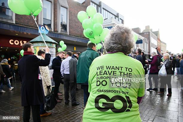 A lady wears a 'Grassroots Out' Tshirt in Wellingborough 70 miles north of London on January 23 2016 to promote the launch of the 'Grassroots Out' a...
