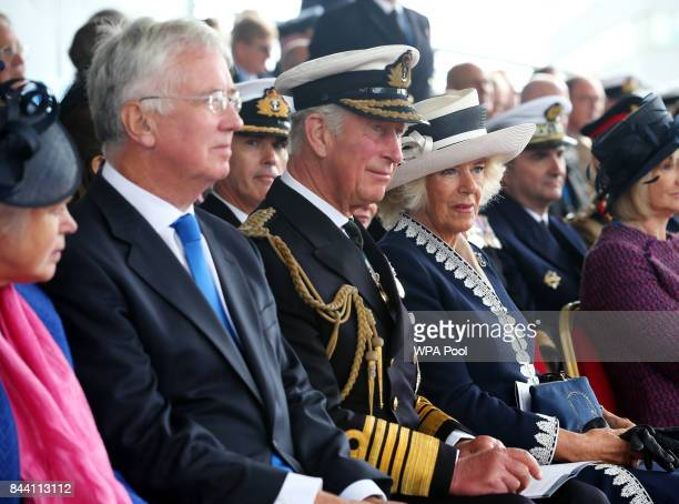 Lady Wendy Fallon Defence Secretary Sir Michael Fallon Prince Charles Duke of Rothesay and Camilla Duchess of Rothesay during a naming ceremony of...