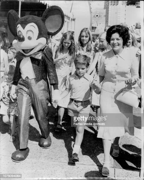 Lady Willis pictured walking in the grounds of Luna Park with Mickey Mouse and Kevin ***** Park St Mary's Home for BoysThe advance party for Disney...