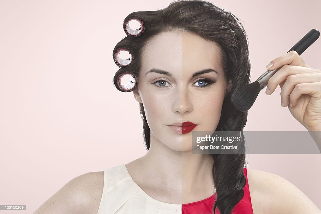 lady with a half plain and half made up face : Stock Photo