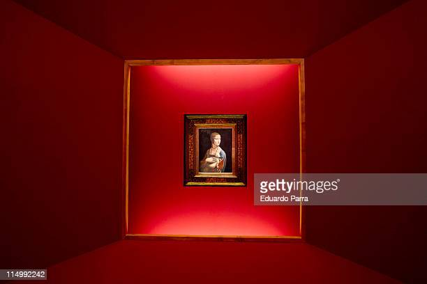 'Lady with an Ermine' painted by Leonardo Da Vinci is displayed in the collection 'Polonia Tesoros y Colecciones Artisticas' at Royal Palace on June...