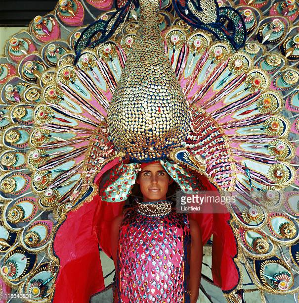 Lady with carnival headdress Trinidad West Indies 8th March 1967