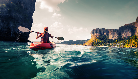 Lady with kayak 516449022