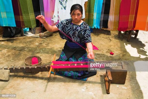 Lady working with wool San Lorenzo Zinacantan near San Cristobal de las Casas Chiapas Mexico