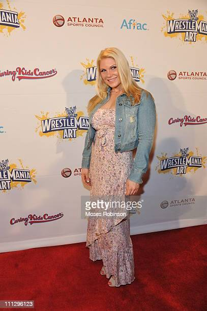 Lady Wrestler Beth Phoenix attends WWE's 4th annual WrestleMania art exhibit and auction at The Egyptian Ballroom at Fox Theatre on March 30 2011 in...