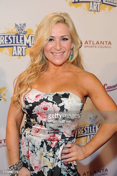 Lady Wrestler Natalya attends WWE's 4th annual WrestleMania art exhibit and auction at The Egyptian Ballroom at Fox Theatre on March 30 2011 in...