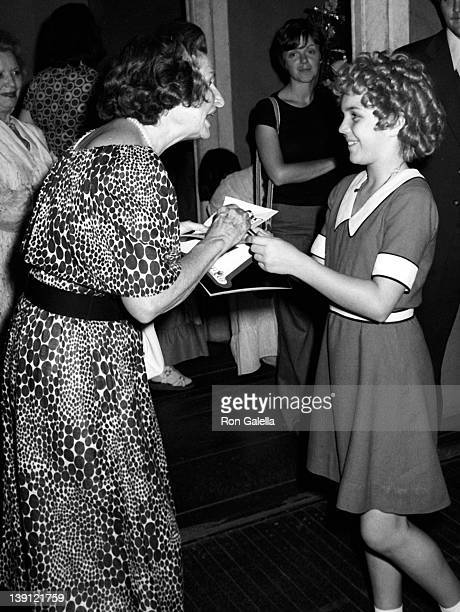 Ladybird Johnson and actress Andrea McArdle attend a performance of 'Annie' on August 9 1977 at the Uris Theater in New York City