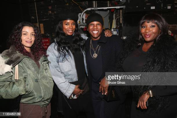 Ladybug Mecca Tasha Smith Miss Lawrence and Bevy Smith pose backstage at the hit musical Ain't Too Proud on Broadway at The Imperial Theatre on March...