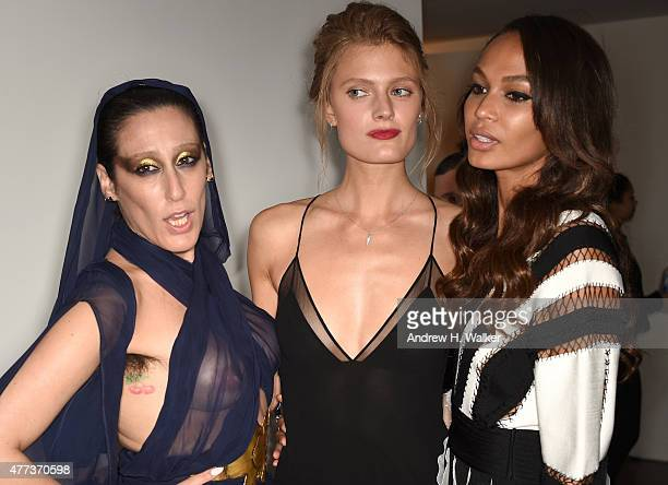 Ladyfag Constance Jablonski and Joan Smalls attend the 2015 amfAR Inspiration Gala New York at Spring Studios on June 16 2015 in New York City