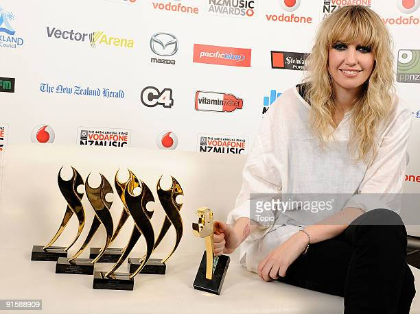 Ladyhawke poses with the awards for Vodafone Single of the Year, Vodafone Album of the Year, International Achievement, Mazda Best Female Solo...