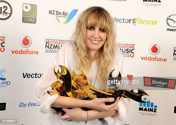 Ladyhawke poses with the awards for Vodafone Single of the Year Vodafone Album of the Year International Achievement Mazda Best Female Solo Artist...