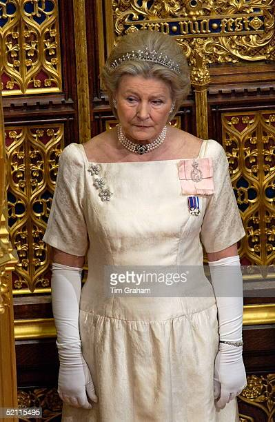 Ladyinwaiting Diana Lady Farnham Accompanying The Queen At The State Opening Of Parliament Held In The House Of Lords