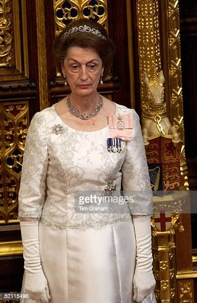 Ladyinwaiting Lady Susan Hussey Accompanying The Queen At The State Opening Of Parliament Held In The House Of Lords