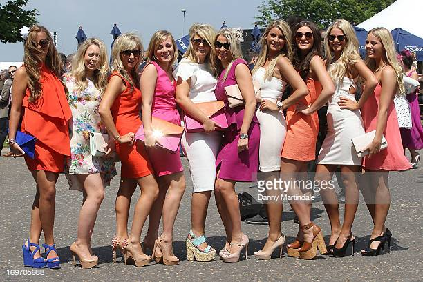 Lady's enjoy a day out on Ladies Day at the Derby Festival at Epsom Racecourse on May 31, 2013 in Epsom, England.