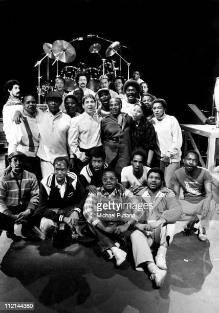 Ladysmith Black Mambazo group portrait with Paul Simon London 1987