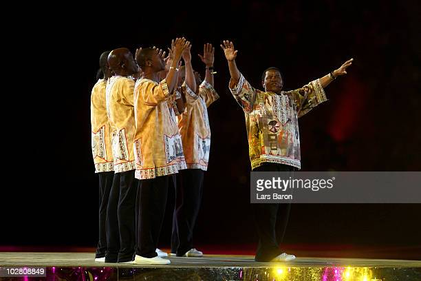 Ladysmith Black Mambazo perform on stage during the Closing Ceremony ahead of the 2010 FIFA World Cup South Africa Final match between Netherlands...