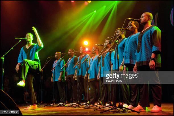 Ladysmith Black Mambazo performing on the Siam Stage at Womad Charlton Park Malmesbury UK on 30 July 2017