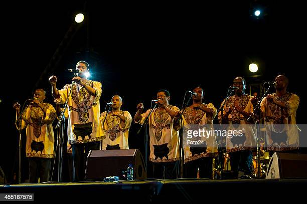 Ladysmith Black Mambazo performs at the tribute concert to Madiba on December 11 2013 in Cape Town South Africa Former South African president Nelson...