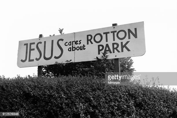 Ladywood, Birmingham, 13th August 1977. By-election, to be held on 18th August 1977. Pictured, sign, Jesus cares about Rotton Park.