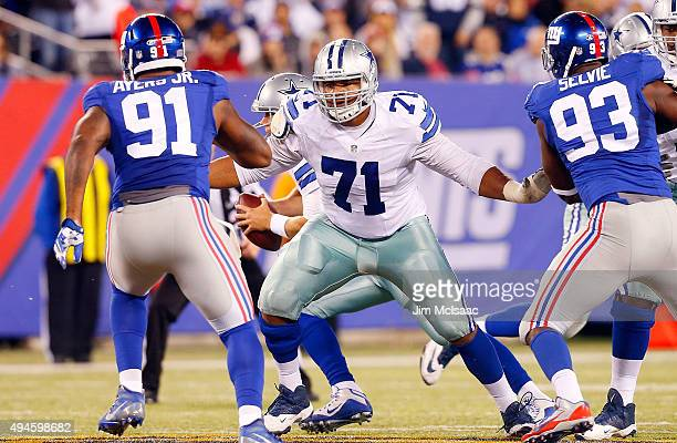 La'el Collins of the Dallas Cowboys in action against the New York Giants on October 25 2015 at MetLife Stadium in East Rutherford New Jersey The...