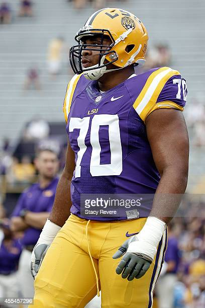 La'el Collins of the LSU Tigers participates in warmups prior to a game against the Louisiana Monroe Warhawks at Tiger Stadium on September 13 2014...