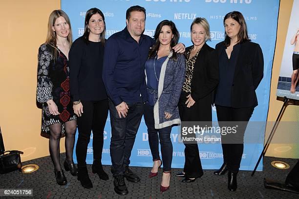 "Laela Kilbourn, Lara Stolman, Chris Laurita, Jacqueline Laurita, Shanna Belott and Ann Collins attend the New York premiere of ""Swim Team"" at DOC NYC..."