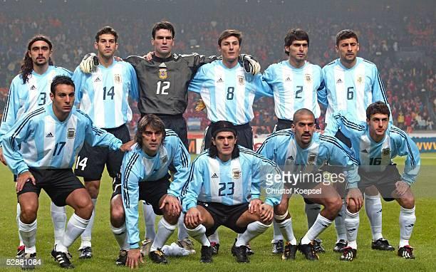 Laenderspiel 2003 Amsterdam Holland Argentinien 10 Team Argentinien hinten vl Juan Pablo SORIN Facundo QUIROGA Torwart Pablo CAVALLERO Javier ZANETTI...