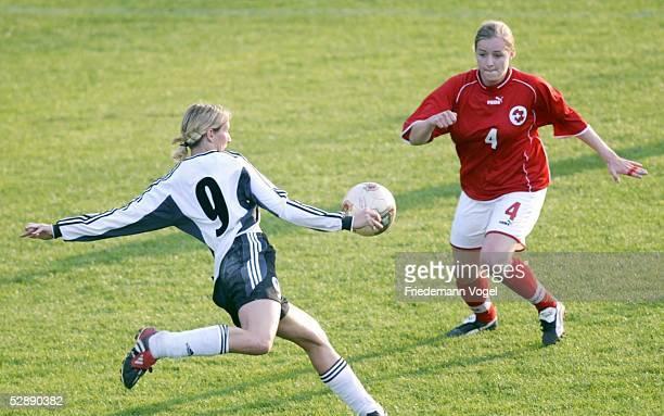 Laenderspiel 2003 Leipzig Deutschland Schweiz 01 Anja MITTAG/GER Nadine SCHAER/SUI
