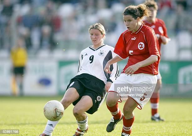 Laenderspiel 2003 Leipzig Deutschland Schweiz 01 Anja MITTAG/GER Valentina MATASCI/SUI
