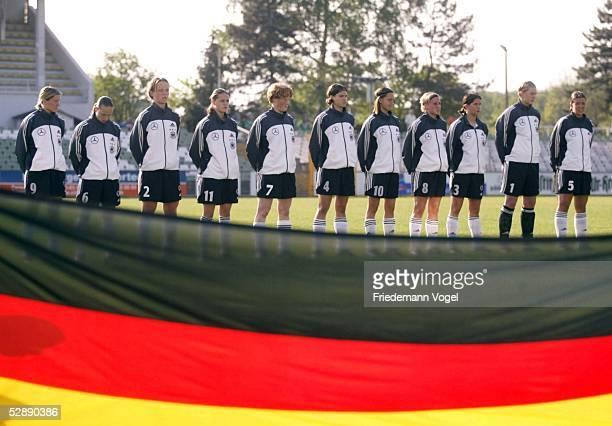 Laenderspiel 2003 Leipzig Deutschland Schweiz 01 Team GER Anja MITTAG Karolin THOMAS Peggy KUZNIK Katharina GRIESSEMER Melanie BEHRINGER Annike KRAHN...